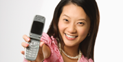 Insurance seeker holding phone.  Call us at
